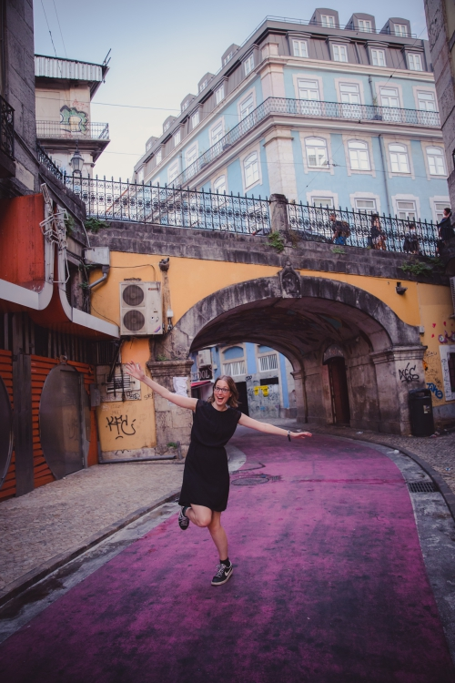 Dancing in pink street